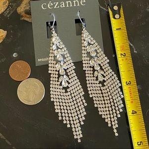 CEZANNE Long Dangly Rhinestone Earrings NWT